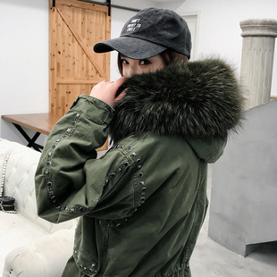 铆钉派克服大衣女可拆卸进口狐狸毛皮草内胆外套中长款2018潮