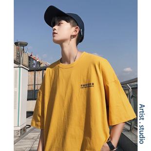 2019夏季潮牌短袖t恤男宽松衣服潮流男装情侣半袖纯色