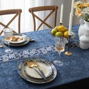 蓝色奢华雪尼尔桌布新中式长方形家用茶几简欧式餐布台布艺会议桌