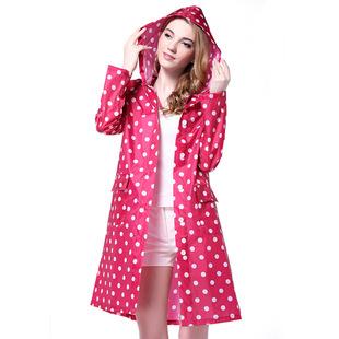 韩版波点时尚风衣式便携式徒步旅游雨衣外套女防水连帽长款雨披