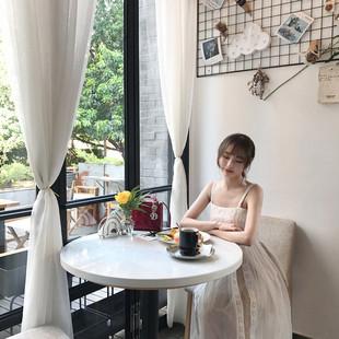 沙滩裙女夏海边度假长裙子泰国三亚巴厘岛超仙显瘦吊带蕾丝连衣裙