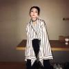 2019设计感上衣女个性喇叭长袖chic白色雪纺条纹衬衫女宽松潮
