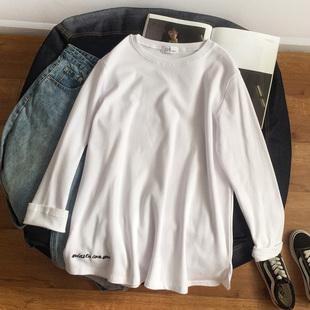 纯白色长袖t恤女内搭上衣秋冬宽松中长款加绒加厚刺绣字母打底衫