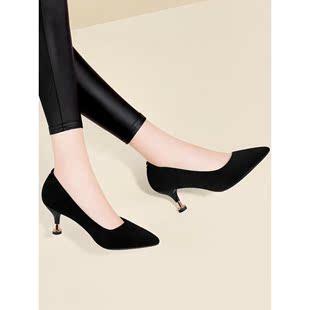 配旗袍穿的女鞋子2021夏春秋细跟单鞋夏季皮鞋小跟磨砂高跟鞋