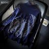 欧洲站羊毛衫加厚女装慵懒大码高领毛衣宽松套头藏蓝色针织衫18冬