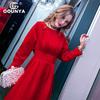 格润雅2019女装过年红色连衣裙显瘦气质优雅宴会礼服长裙