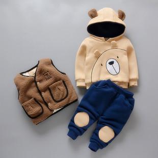 童装男童秋冬装套装2020中小童儿童卫衣宝宝加绒加厚三件套潮