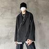 KCN秋季宽松不规则毛边西装黑色长袖西服设计感休闲外套ins小西装