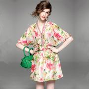 欧洲站时尚印花裙女装2021年夏季中长款V领五分袖花色雪纺连衣裙