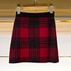 K2018冬高腰格纹包臀短裙百搭A字撞色针织半身裙