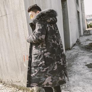 冬季中长款迷彩棉衣男潮牌大码工装棉服外套毛领连帽保暖棉袄
