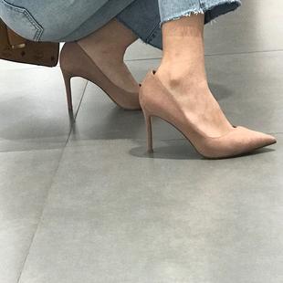 高跟鞋女细跟2020秋冬尖头裸色网红仙女风职业工作百搭女鞋子