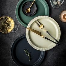 复古北欧式家用陶瓷釉下彩圆盘深汤盘子网红ins风牛排西餐沙拉盘