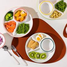 分格减脂餐盘一人食家用早餐餐具儿童陶瓷减肥定量盘子分餐盘套装