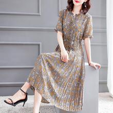 2021年夏季女装高贵气质短袖雪纺印花连衣裙显瘦洋气减龄裙子