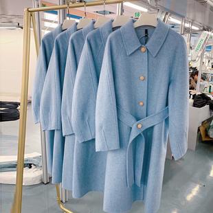 双面羊绒外套羊毛呢大衣女中长款翻领单排扣韩国时尚流行冬季