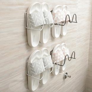 浴室拖鞋架神器 家用壁挂式拖鞋架 卫生间墙上门后免打孔简易鞋架