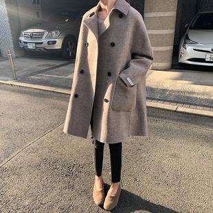 加厚双面羊绒大衣女2018冬季中长款高端羊毛宽松A字毛呢外套