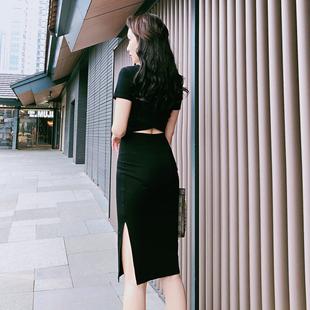 性感女装2019夏季气质流行裙子中长款露背打底紧身包臀连衣裙