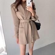 秋冬装短款150小个子双面羊绒呢子大衣百搭西装领斗篷毛呢外套女