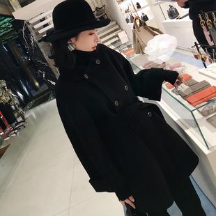 冬季双面羊绒双排扣短款斗篷毛呢外套小个子纯手工呢子大衣女