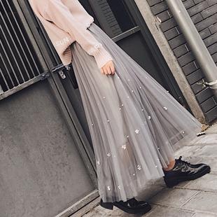 2018秋冬韩范chic春装重工钉珠大摆网纱半身裙中长款百褶裙