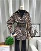 2019春季时尚腰带灯芯绒豹纹衬衫女长袖中长款气质收腰上衣潮