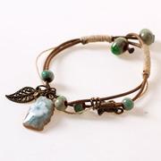 景德镇陶瓷小饰品简约个性淡蓝色手链女士扣式民族风首饰原创设计
