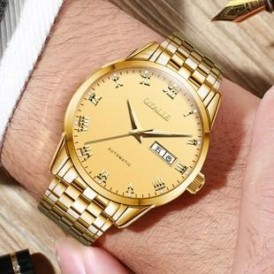 瑞士手表男士机械表全自动双日历世界十大名表18K黄金色