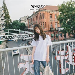 纯色ins白色t恤女短袖潮纯棉宽松2019上衣体桖纯黑半袖女装夏