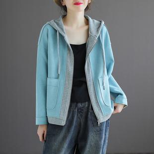 代勒原创麂皮绒长袖拉链连帽短外套女士秋季复古宽松拼接上衣