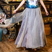 花衣原创女装真丝缎子半身裙高腰长款a字裙百褶裙女裙大摆裙