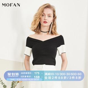 MOFAN摩凡2019夏季V领一字肩露背撞色针织衫女短款毛衣