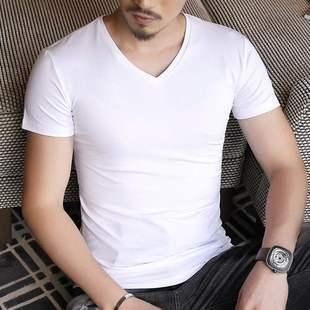 夏季男士莫代尔冰丝纯色短袖t恤v领修身纯白色半袖体恤衫打底上衣