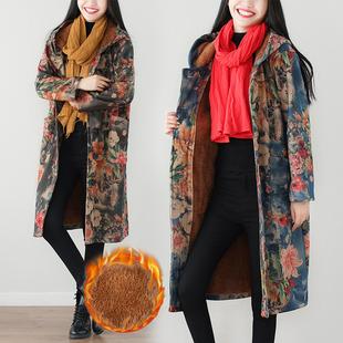 胖女人大码女装冬季200斤胖mm加绒加厚呢子大衣毛呢连帽风衣外套