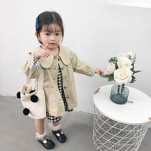 女童洋气风衣外套中长款春季装儿童宽松纯色上衣宝宝夹克