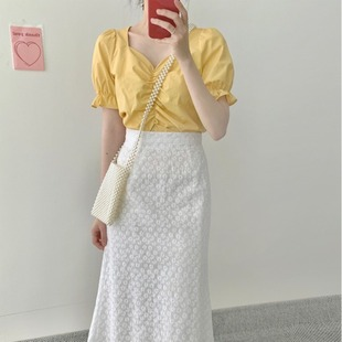 夏装时尚套装女V领短袖衬衫+高腰洋气显瘦半身裙网红减龄两件套潮
