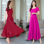 2020纯色雪纺广场跳舞大摆及踝长裙子修身大红色。气质连衣裙