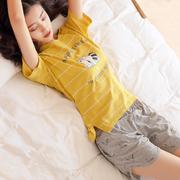 睡衣女夏季纯棉短袖两件套装宽松女士夏天可外穿少女家居服薄