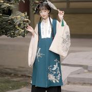 清宵原创设计明制汉服立领斜长衫比甲马面裙刺绣花秋冬季三件套装