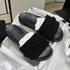 2020夏季欧美小香风珍珠露趾串珠平底一字拖鞋舒适厚底仙女鞋