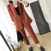 大码女装职业套装胖mm200斤休闲小西装外套九分裤显瘦西服两件套