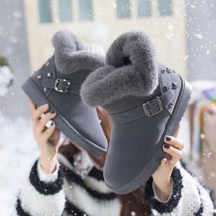 欧思嘉2018冬季加绒保暖雪地靴女学生毛毛短筒百搭棉鞋潮