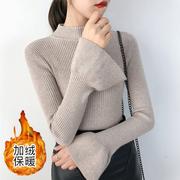 半高领毛衣女打底衫冬加绒厚长袖百搭套头上衣针织衫