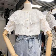 绣花毛毛流苏娃娃领短袖蕾丝衫衬衣2019夏装打底衫上衣服