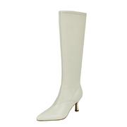 丫丫手工女鞋弹力长筒靴女不过膝网红尖头显瘦气质高跟细跟骑士靴