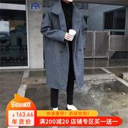 方少男装 秋冬风衣长款呢大衣男日系宽松加厚保暖呢子外套潮