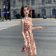 小个子初恋裙子法式复古甜美减龄红色无袖雪纺波点连衣裙短裙女夏