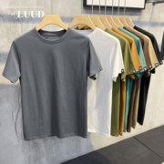 LUUD 夏季T字绣标时尚简约T恤潮圆领纯色短袖舒适透气休闲上衣男