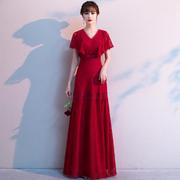 敬酒服新娘2020 秋季优雅蕾丝红色 长款明星气质结婚礼服女